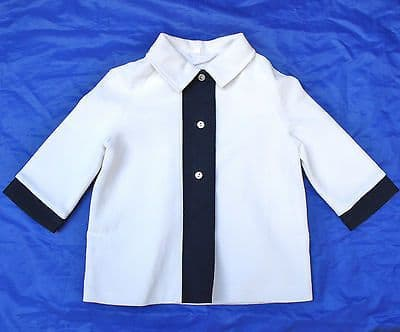Vintage infants coat UNUSED 1960s BABY GIRLS White Navy blue 9-12 months 16